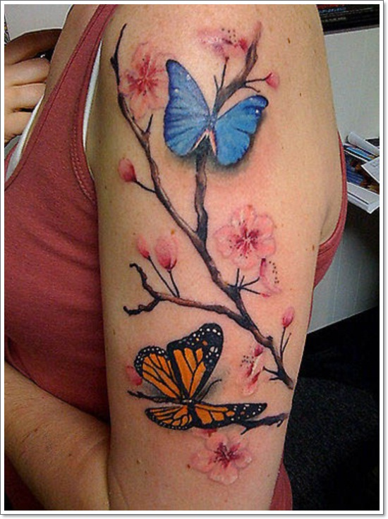 82c2c4652c60c Realistic Butterflies And Cherry Blossom Tattoo On Half Sleeve