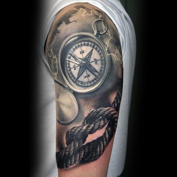 Realistic Rope Tattoo On Left Half Sleeve
