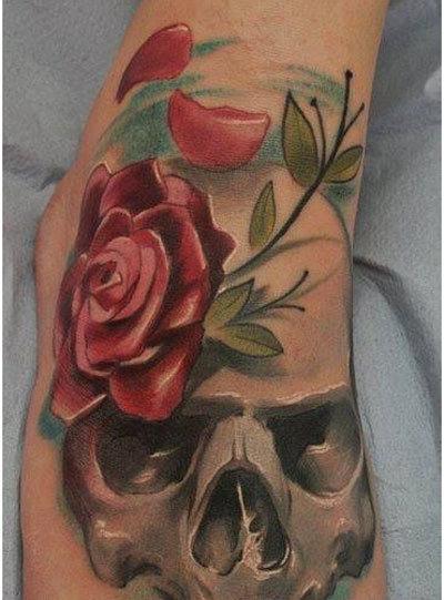 realistic rose on skull foot tattoo. Black Bedroom Furniture Sets. Home Design Ideas