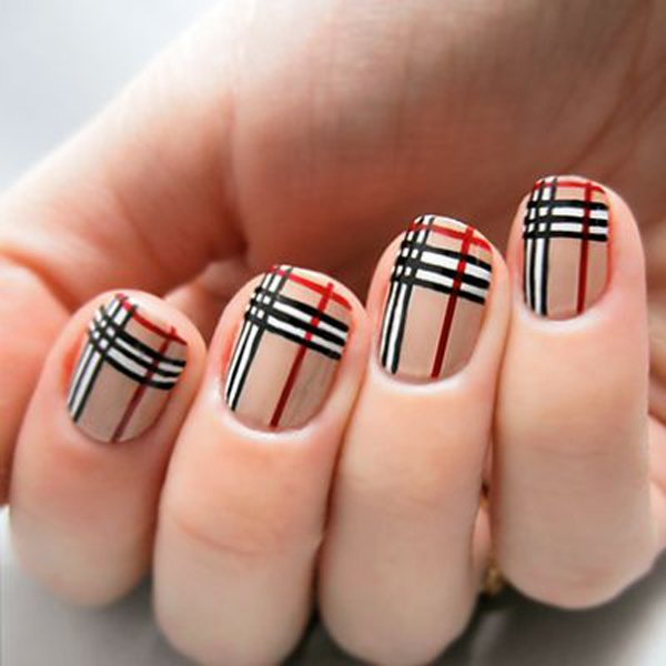 Red And Black Plaid Print Design Nail Art