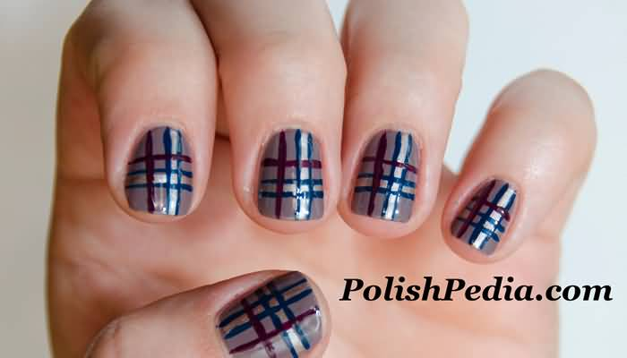 Red And Blue Plaid Design Nail Art