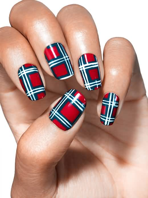 Red And Blue Plaid Nail Art