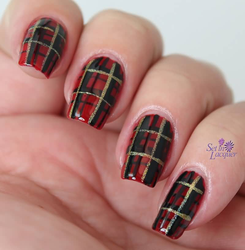 Red And Gold Glitter Plaid Design Nail Art Idea
