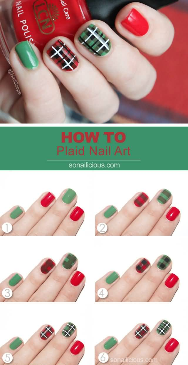 Red And Green Plaid Nail Tutorial