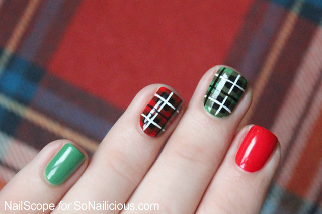 Red And Green Plaid Print Nail Art Idea