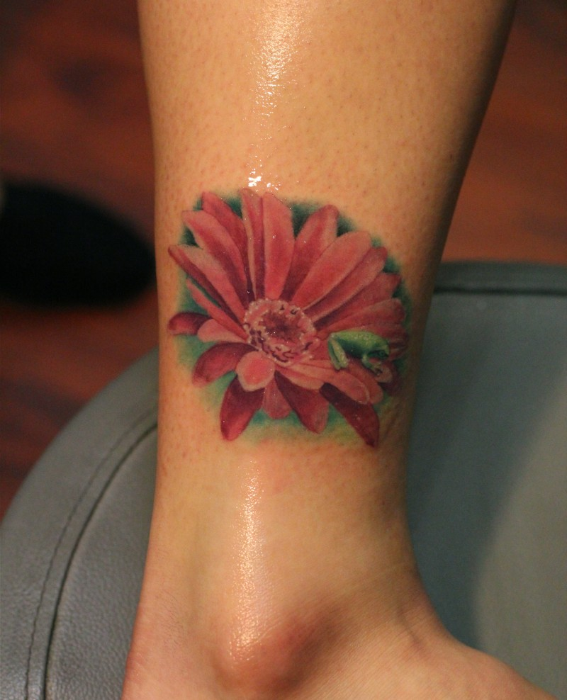 60 daisy tattoos on ankle red daisy flower ankle tattoo izmirmasajfo