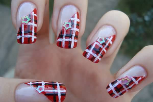 Red Diagonal Plaid Nail Art