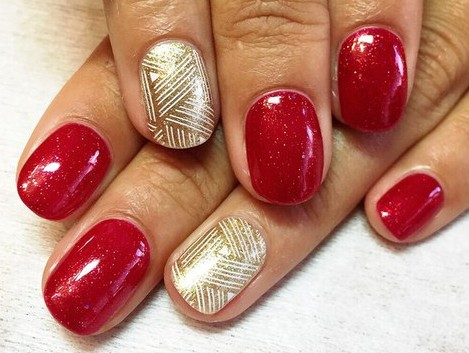 Red Gel Nails And Golden Design Idea - 70 Most Beautiful Gel Nail Art Ideas