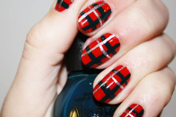 Red Glossy And Black Plaid Print Nail Art