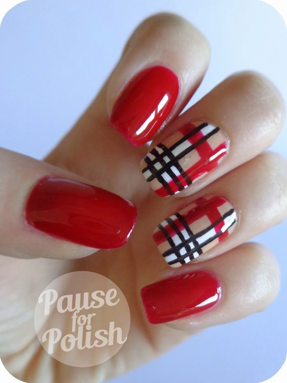 Red Glossy Nails And Plaid Print Nail Art