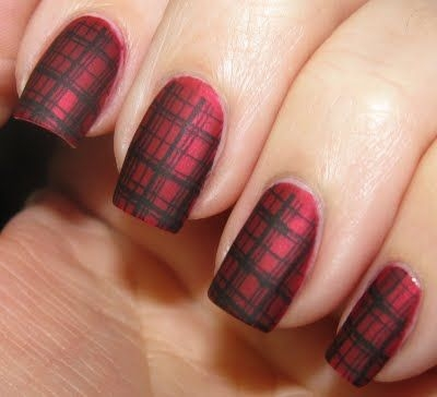 Red Matte Plaid Nail Art