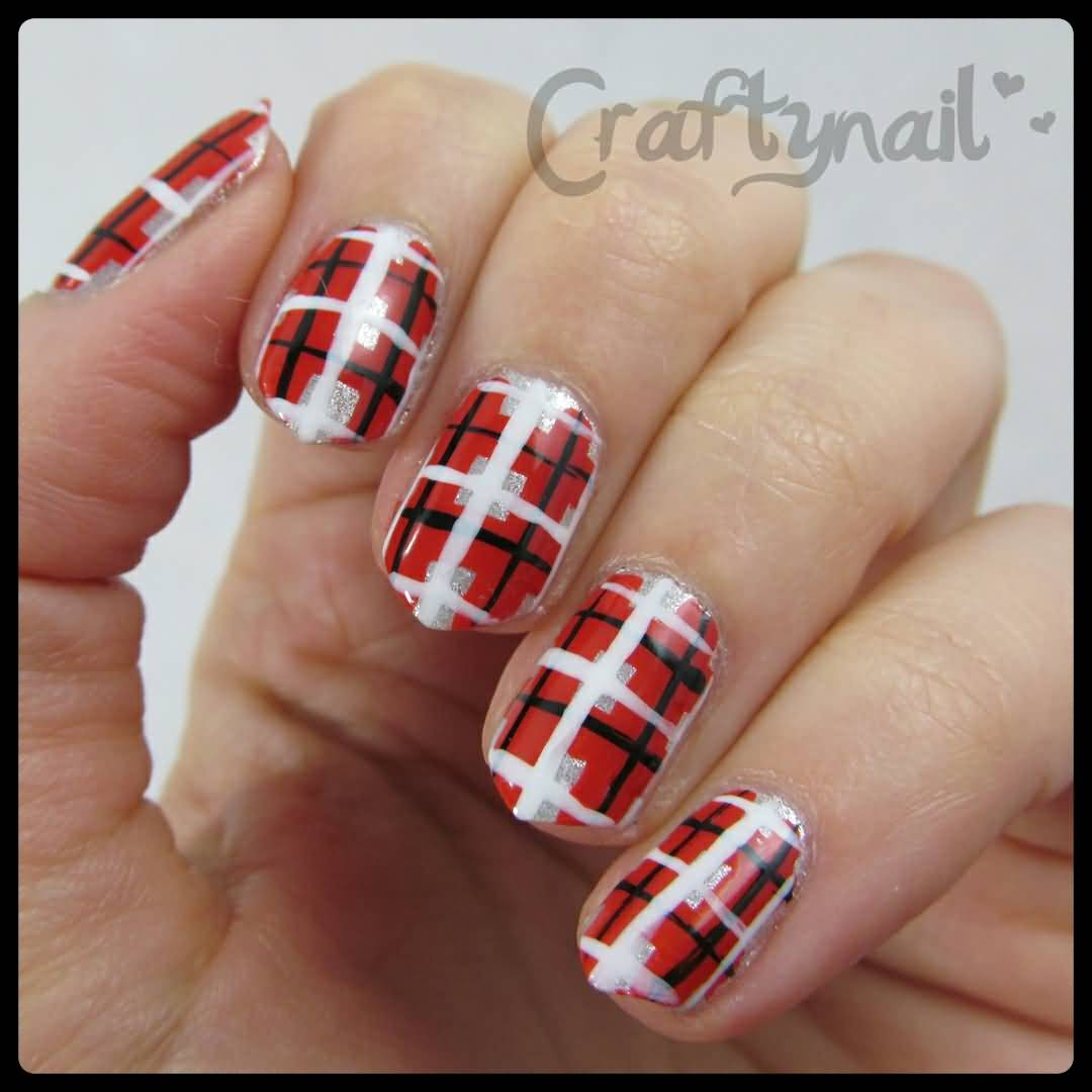 Red White And Black Plaid Nail Art
