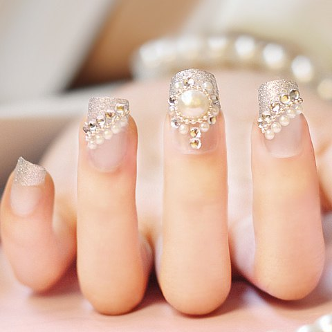 Rhinestones and pearls design nail art prinsesfo Image collections - Pearl Nail Art Designs Image Collections - Nail Art And Nail