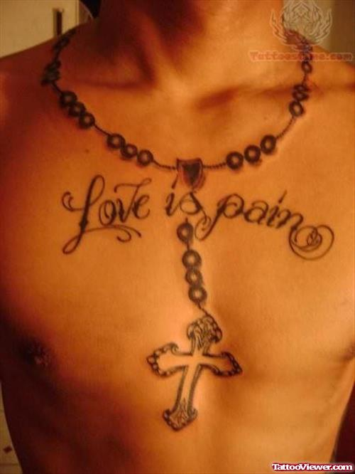18 rosary tattoos around neck for Chest and neck tattoos