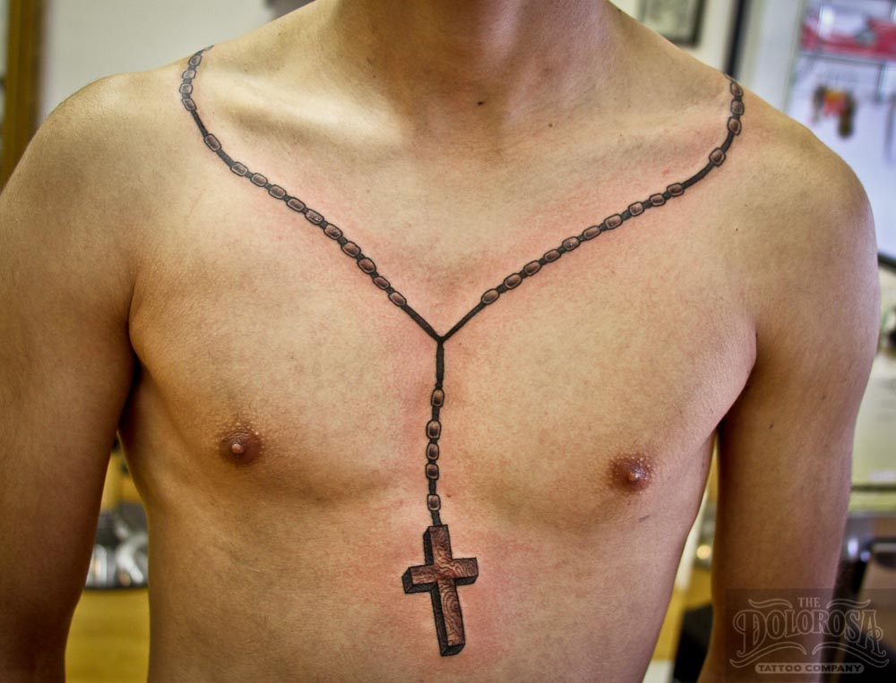 18+ Rosary Tattoos Around Neck