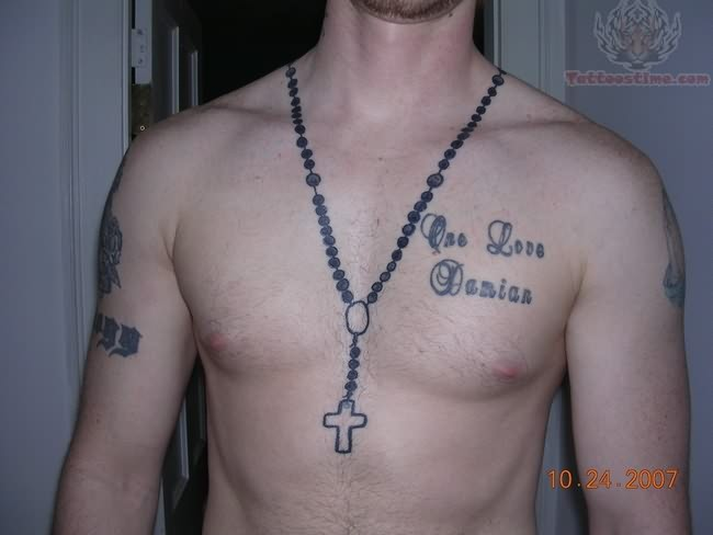Rosario Tattoo On Chest
