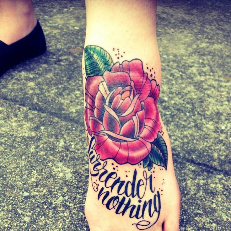 10 Foot Rose Tattoo Designs: Wonderful Vintage Rose Tattoo On Foot