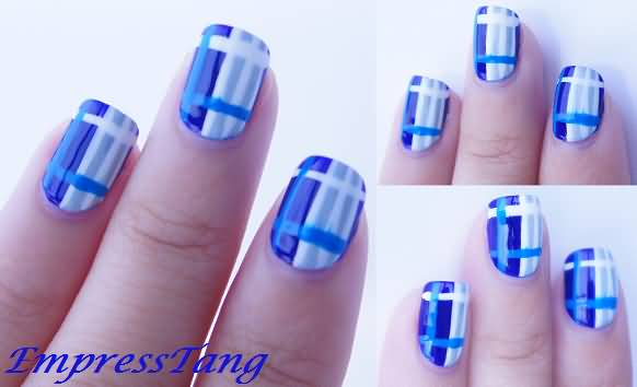 Royal Blue Plaid Nail Art