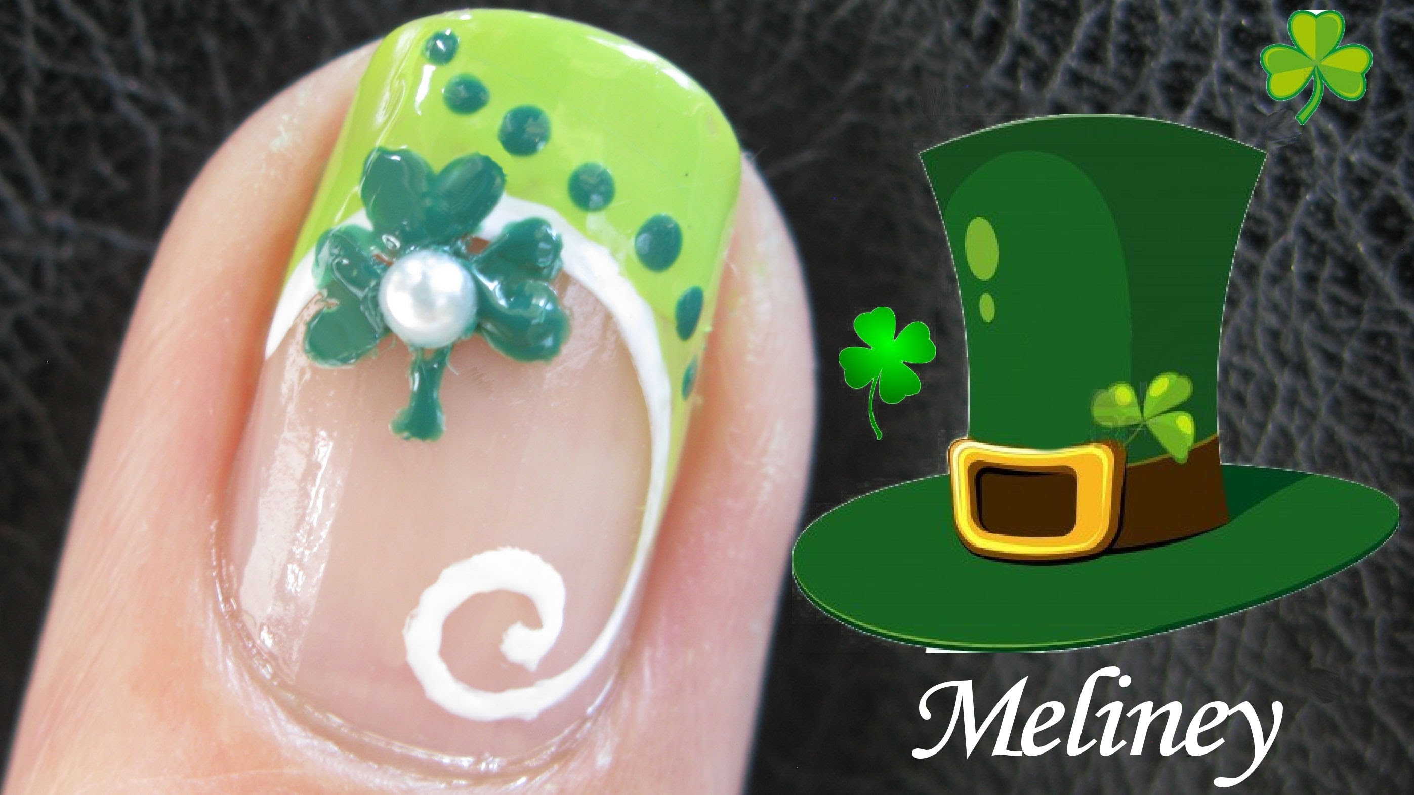 Shamrock Leaf Acrylic Saint Patrick\'s Day Nail Art With Tutorial Video