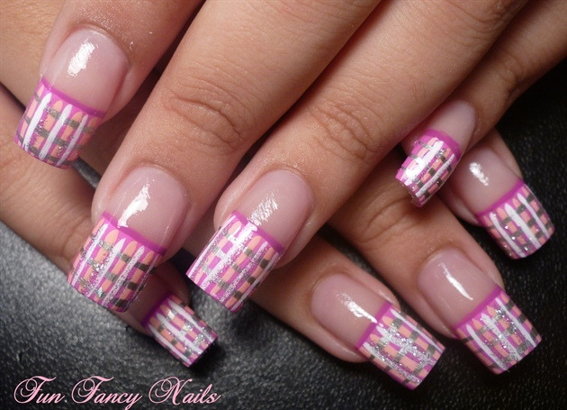 Silver And Pink Plaid Nail Art