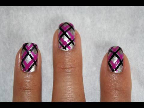 Silver Base Nails With Pink And Black Plaid Nail Art