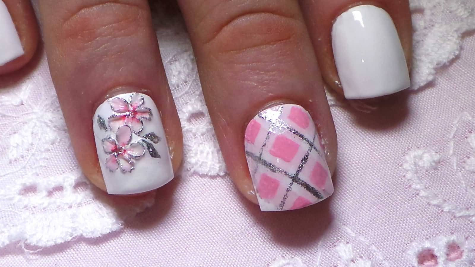 Silver Glitter Plaid Nail Art With Cherry Blossom Flowers