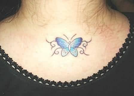 0f0e004de7218 Simple Blue Butterfly Tattoo For Women