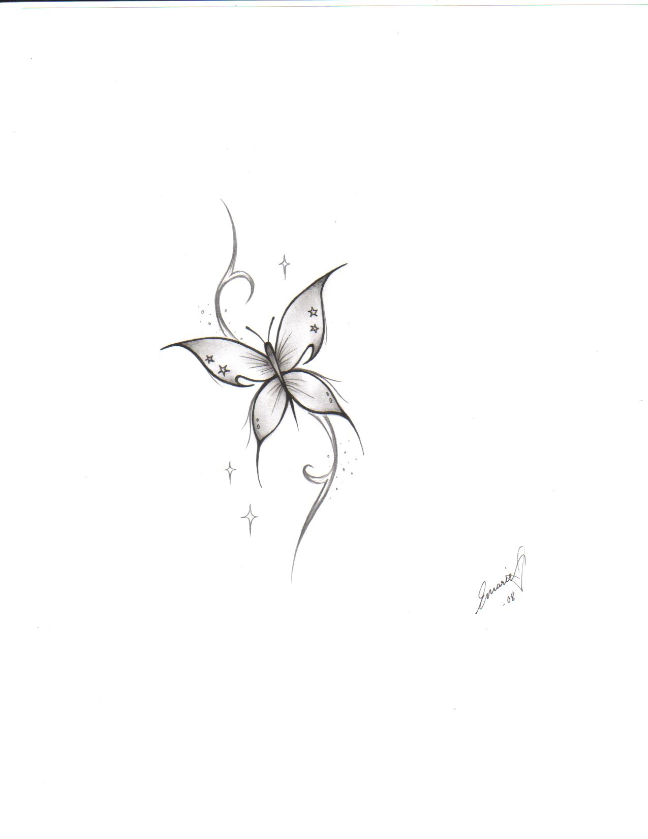 639d9d0fea3ab Simple Tiny Butterfly Tattoo Design