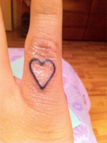 60 cool heart tattoos on fingers for Finger tattoo care instructions