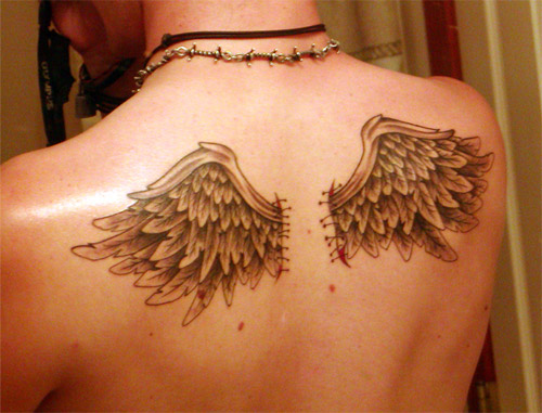 Small Grey Tattoo: 40+ Angel Wings Tattoos On Back