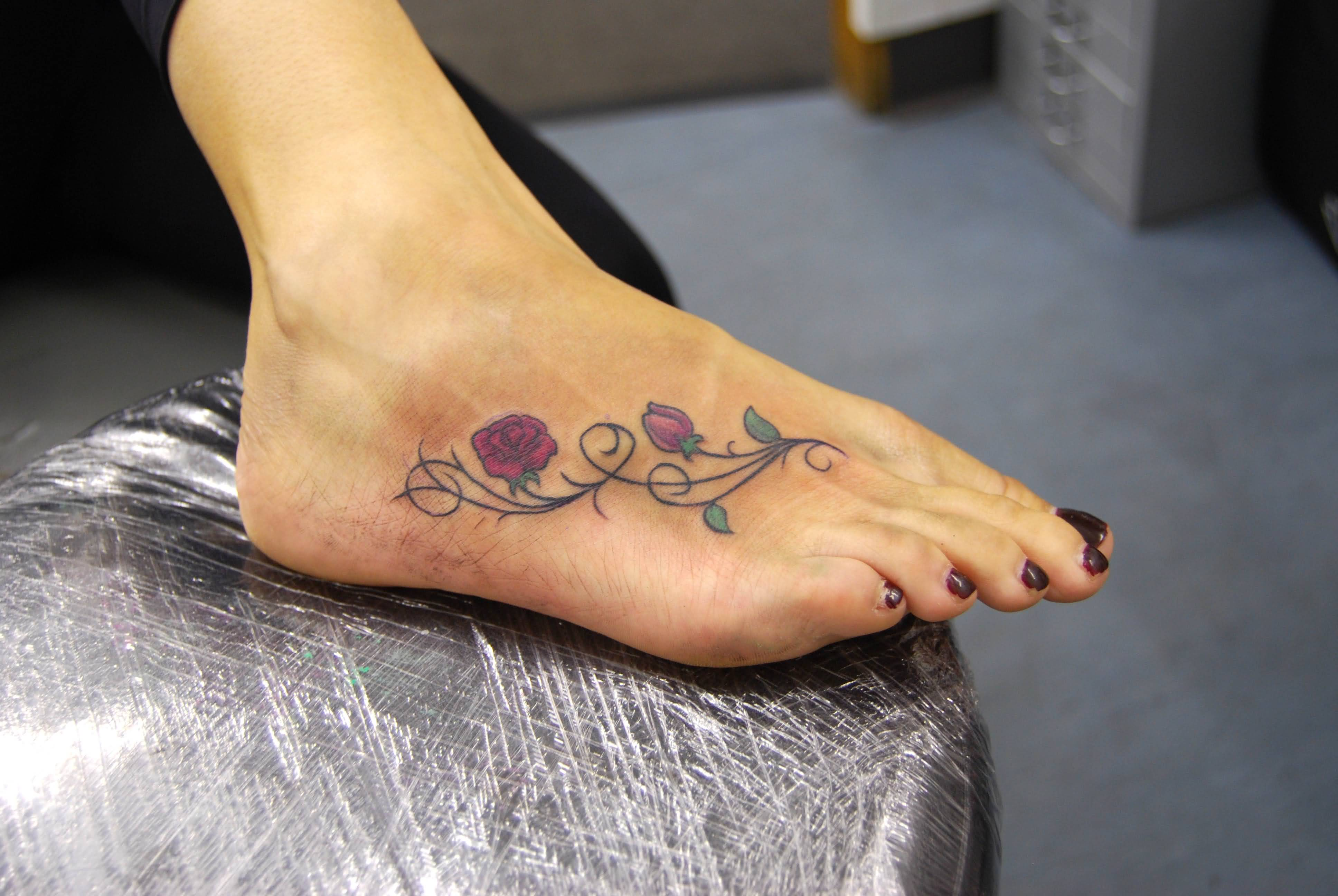 55 beautiful rose tattoos on foot for Tattoo on the foot