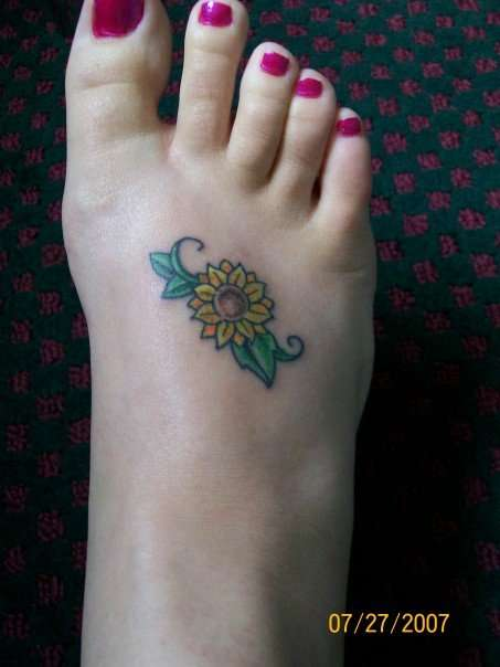 33 sun flower foot tattoos for Small tattoos for women on foot