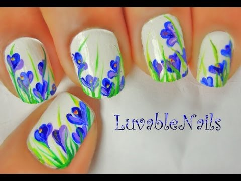 Spring crocus flowers nail art tutorial video mightylinksfo