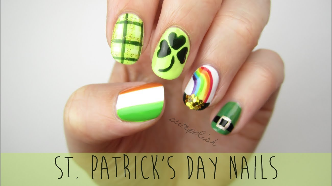 Nail Art Ideas shamrock nail art tutorial : St. Patrick's Day Nail Art With Video Tutorial