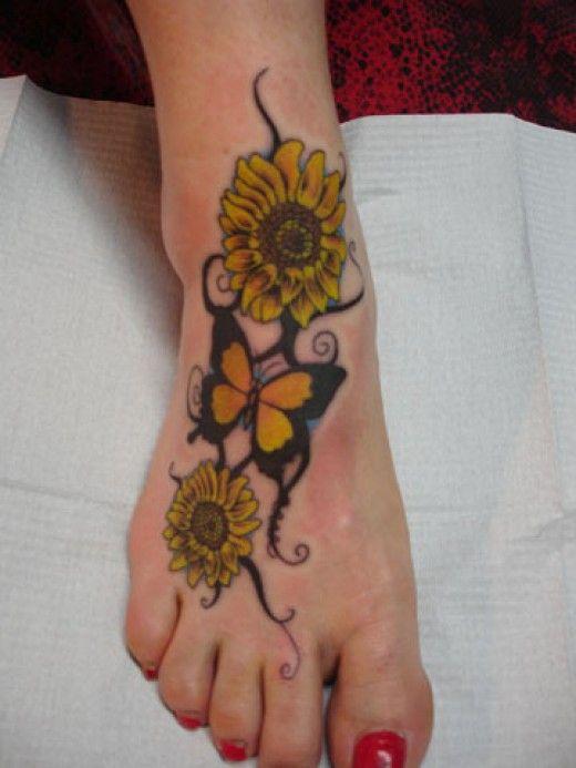 33+ Sun Flower Foot Tattoos