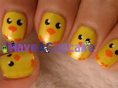 Super Easy Easter Chick Nail Art Tutorial Video