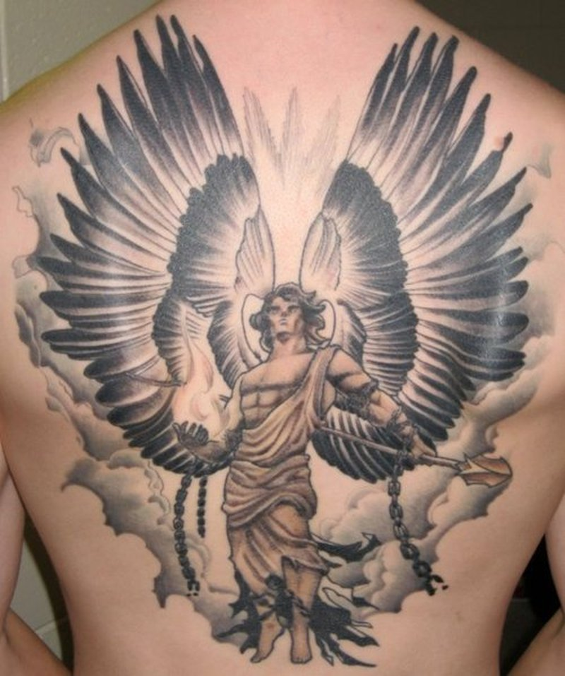 54 angel tattoos on full back. Black Bedroom Furniture Sets. Home Design Ideas
