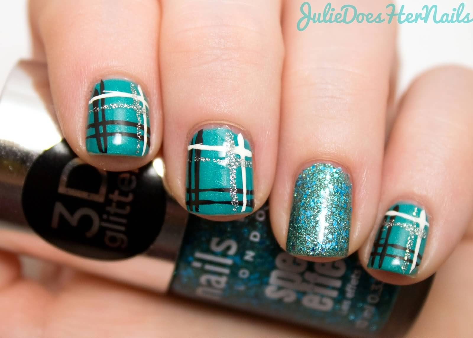 Teal Plaid Nail Art 60 Most Beautiful