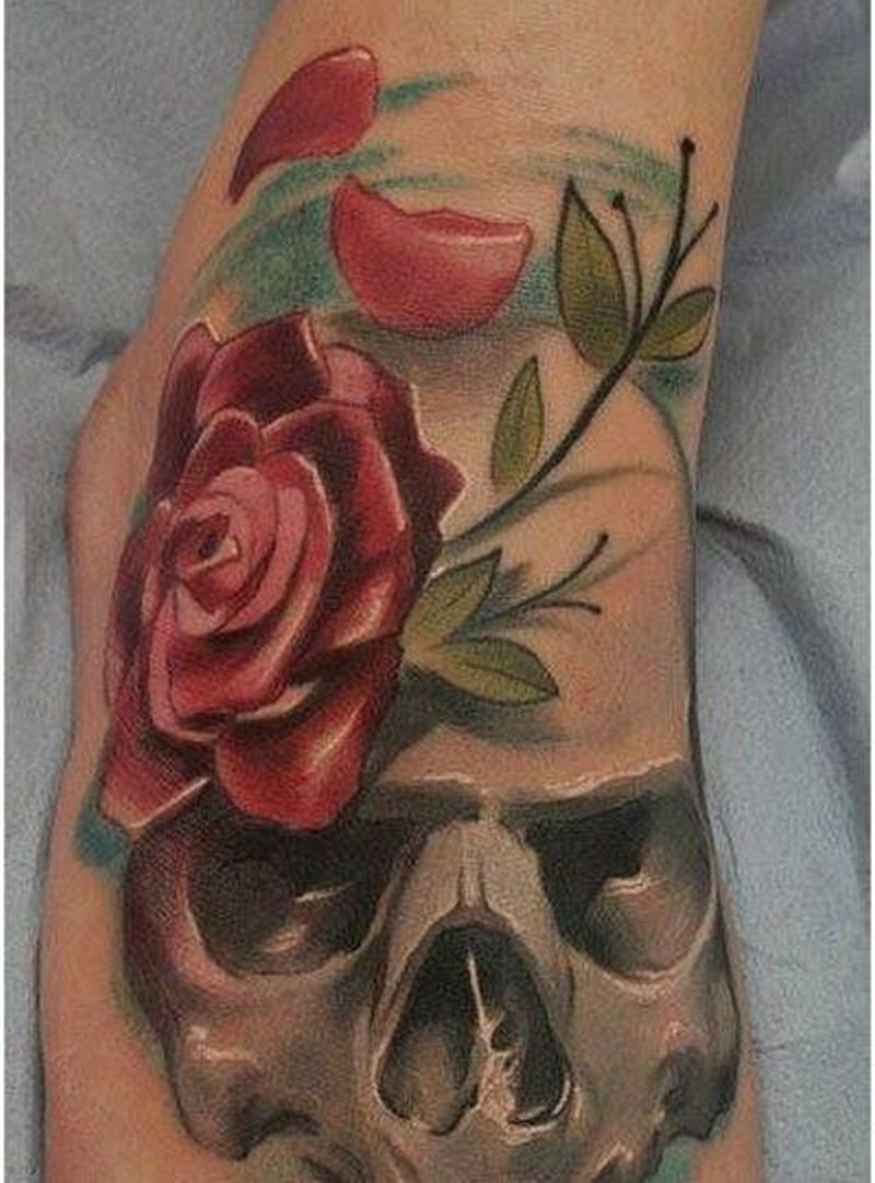 55 beautiful rose tattoos on foot for Rose and skull tattoos