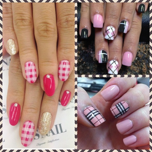 Three Beautiful Plaid Nail Art Design