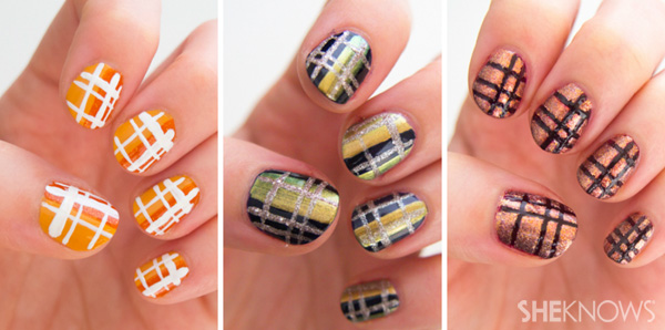 Three Beautiful Plaid Nail Art
