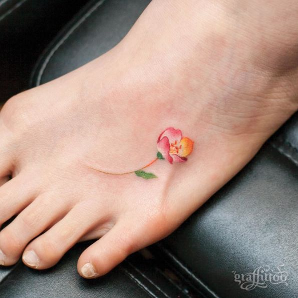 Stylish jasmine flower tattoo on foot for girls for Small tattoos for women on foot