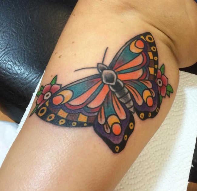 traditional butterfly tattoo on leg. Black Bedroom Furniture Sets. Home Design Ideas