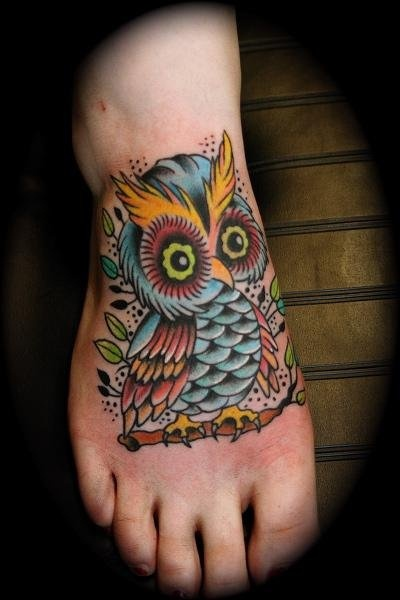 Cute owl tattoos on foot - photo#7