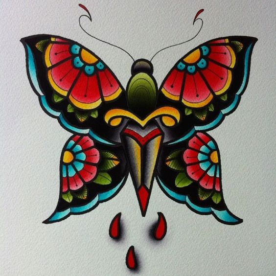 Traditional Butterfly Tattoo Flash: 30+ Traditional Butterfly Tattoos