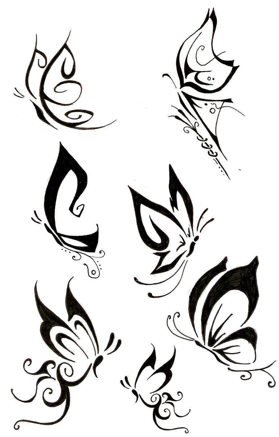 طرح خام تاتو 45+ Tribal Butterfly Tattoo Designs