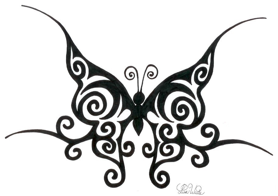 fabe96d45a69f Tribal Butterfly Tattoo Design By LWaite