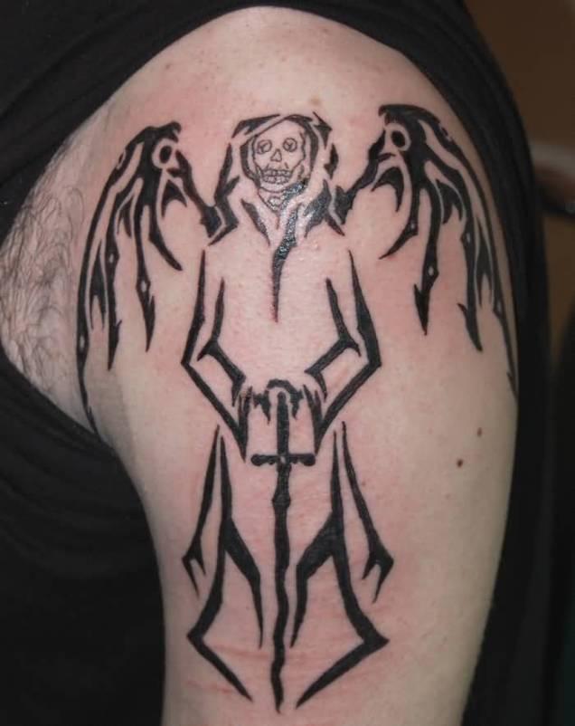 Tribal Death Tattoo: 65+ Angel Tattoos For Men Shoulder
