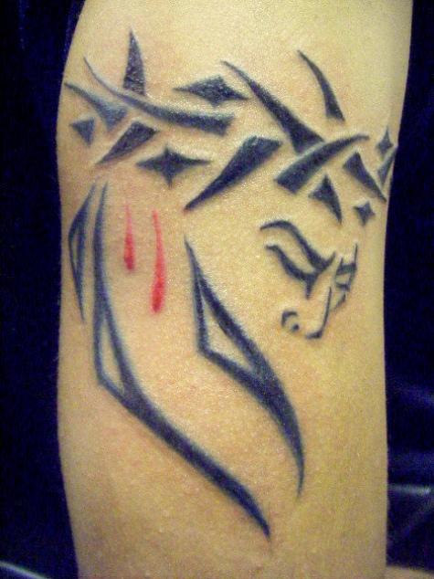 f7b23d083c568 Tribal Jesus Christian Tattoo On Arm