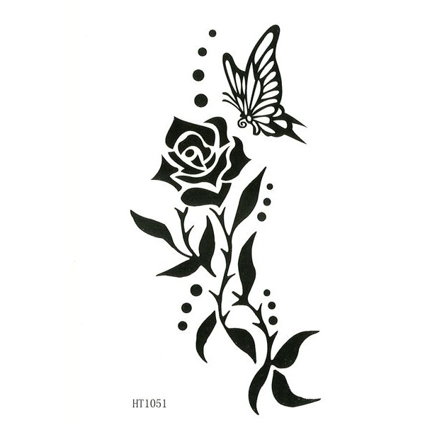 55 butterfly flower tattoos for Tribal rose tattoo designs